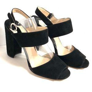 Prada Black (Nero) Suede Open Toe Sandals Size 38
